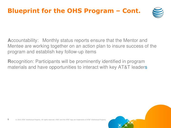 Blueprint for the OHS Program – Cont.