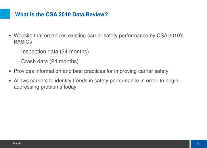 What is the CSA 2010 Data Review?
