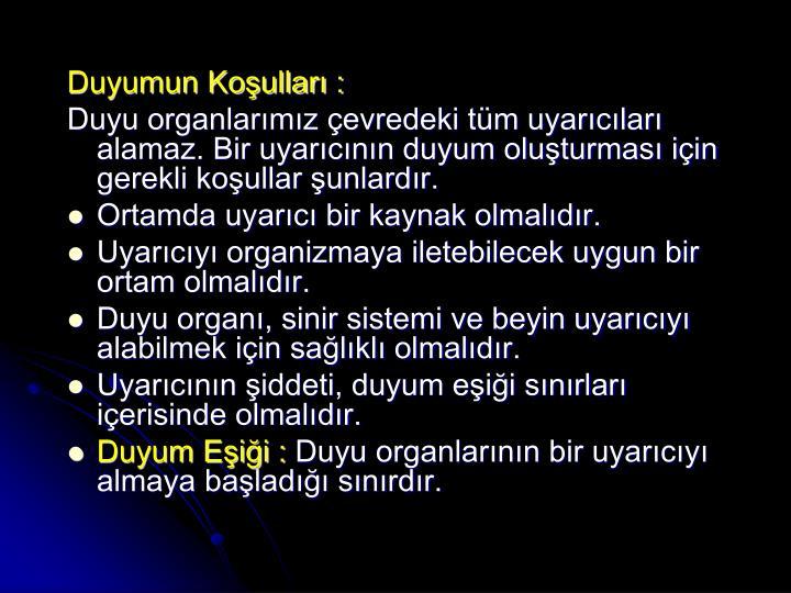 Duyumun Koşulları :