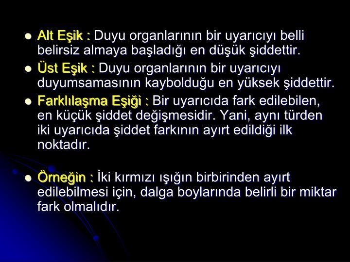 Alt Eşik :