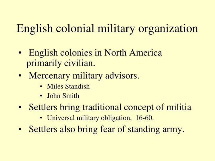 English colonial military organization