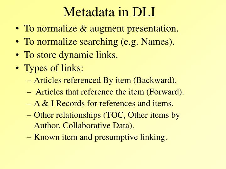Metadata in DLI