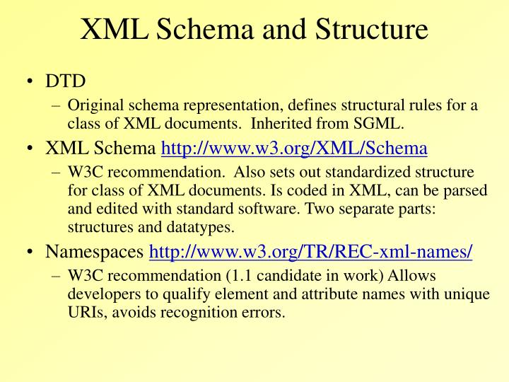 XML Schema and Structure