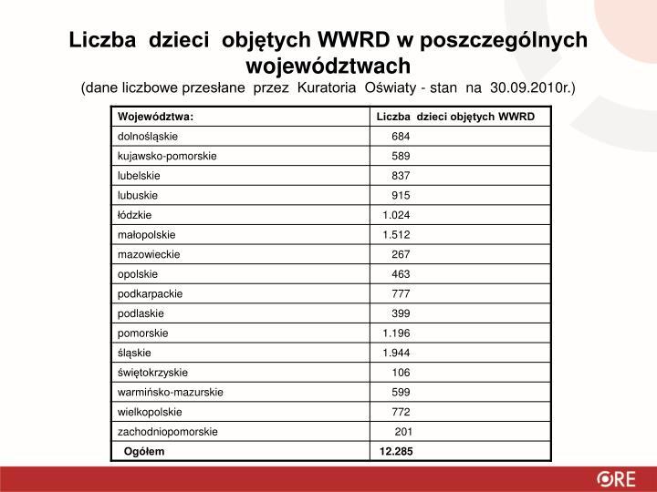 Liczba  dzieci  objętych WWRD w poszczególnych  województwach