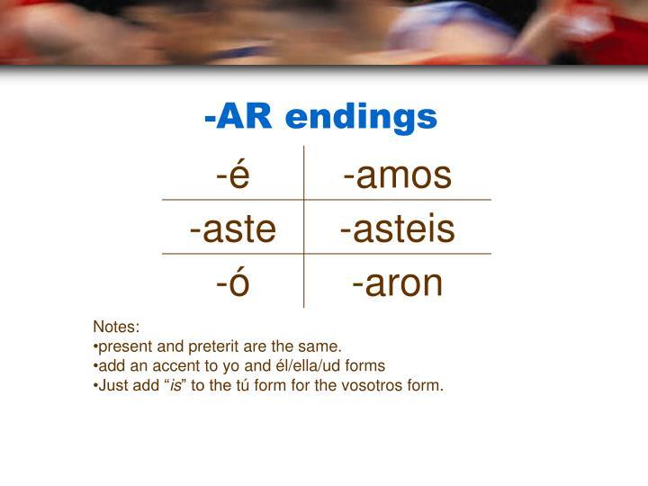 -AR endings