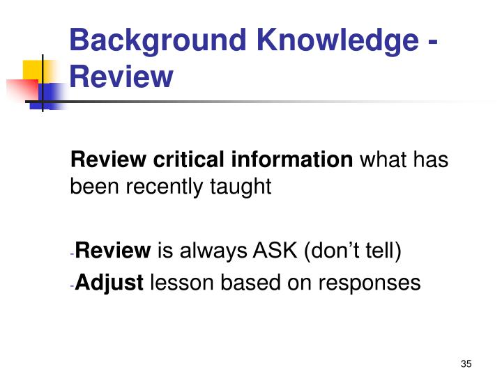 Background Knowledge - Review