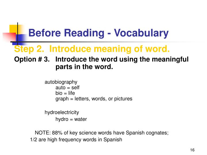 Before Reading - Vocabulary