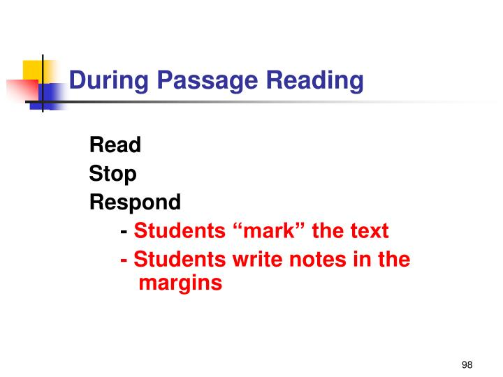 During Passage Reading