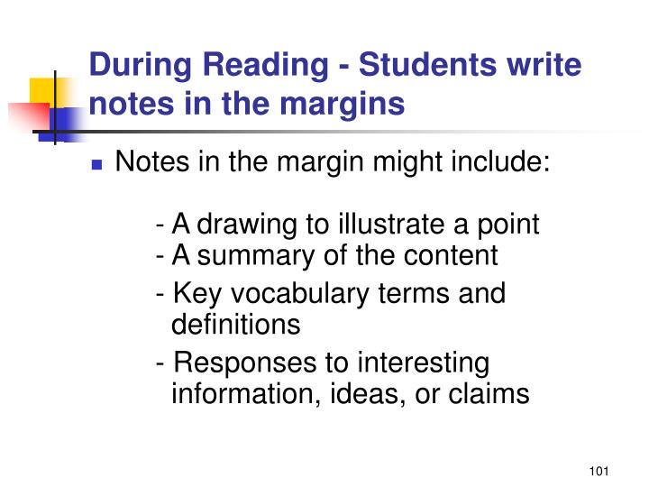 During Reading - Students write notes in the margins