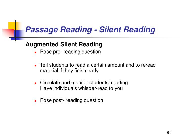 Passage Reading - Silent Reading