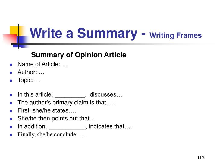 Write a Summary -