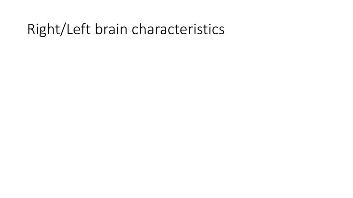 Right/Left brain characteristics