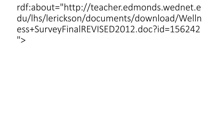 "<item rdf:about=""http://teacher.edmonds.wednet.edu/lhs/lerickson/documents/download/Wellness+SurveyFinalREVISED2012.doc?id=156242"">"