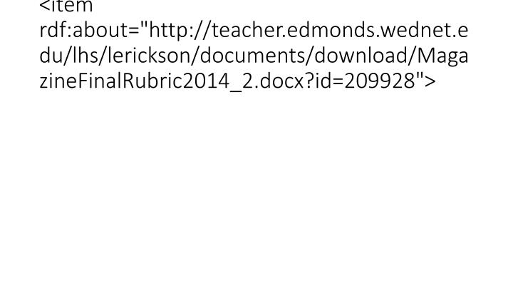 "<item rdf:about=""http://teacher.edmonds.wednet.edu/lhs/lerickson/documents/download/MagazineFinalRubric2014_2.docx?id=209928"">"