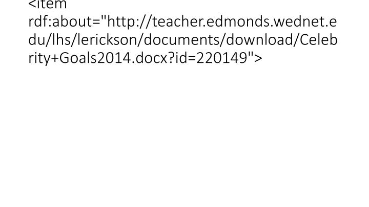 "<item rdf:about=""http://teacher.edmonds.wednet.edu/lhs/lerickson/documents/download/Celebrity+Goals2014.docx?id=220149"">"