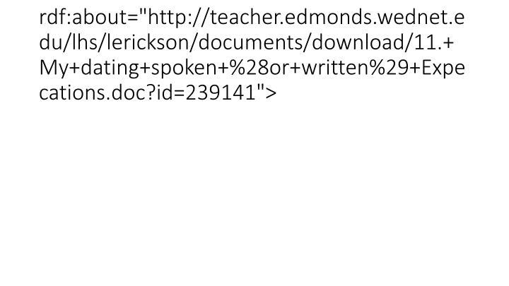 "<item rdf:about=""http://teacher.edmonds.wednet.edu/lhs/lerickson/documents/download/11.+My+dating+spoken+%28or+written%29+Expecations.doc?id=239141"">"