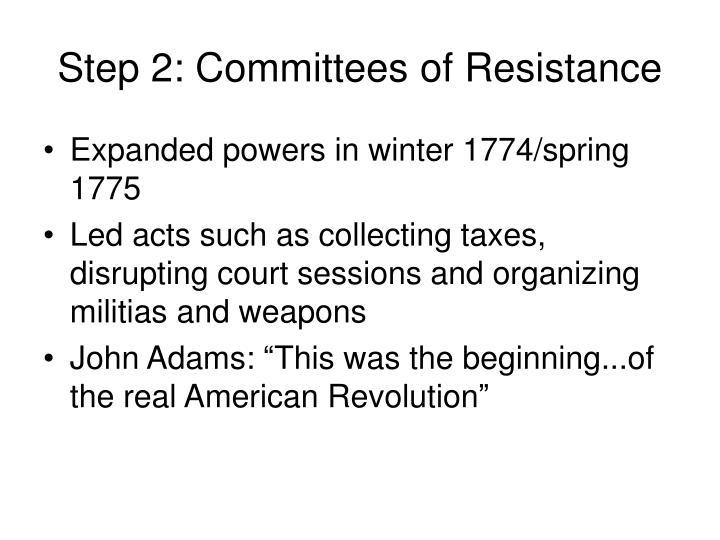 Step 2: Committees of Resistance
