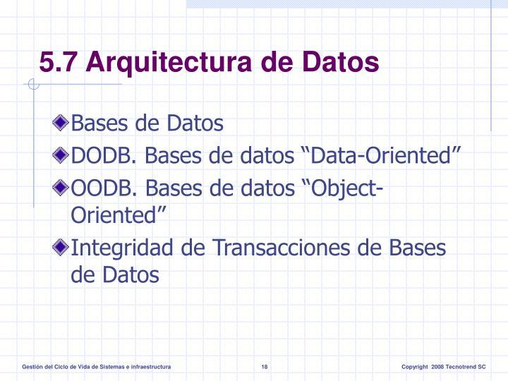 5.7 Arquitectura de Datos