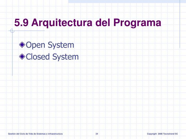 5.9 Arquitectura del Programa