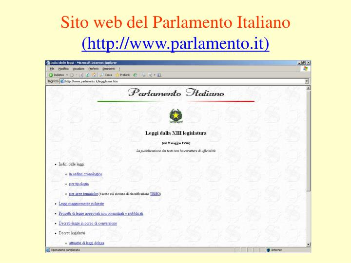 Sito web del Parlamento Italiano