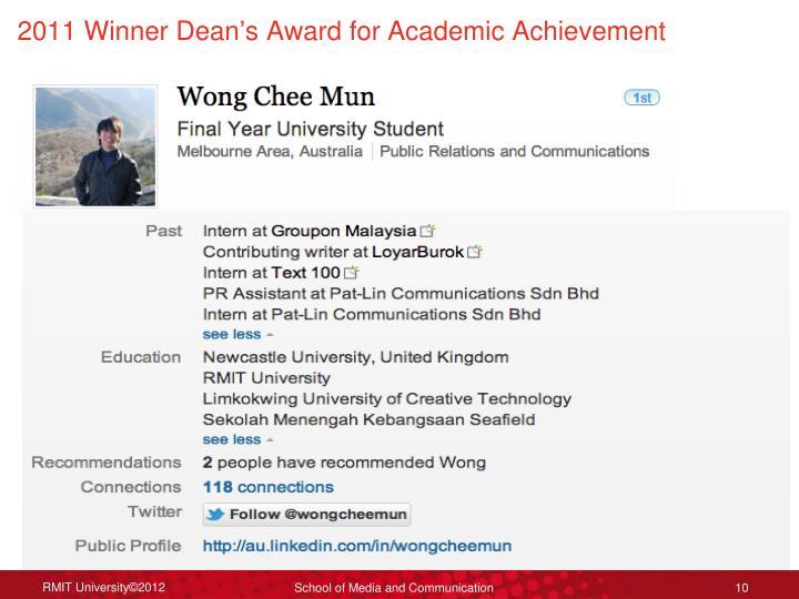2011 Winner Dean