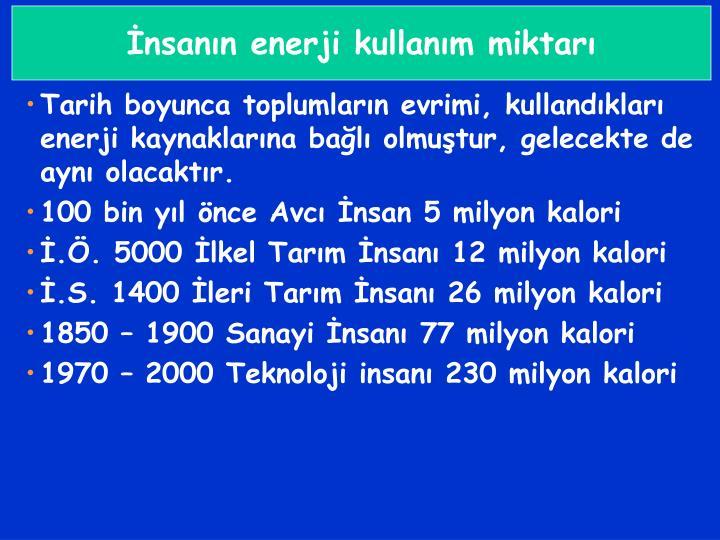 İnsanın enerji kullanım miktarı