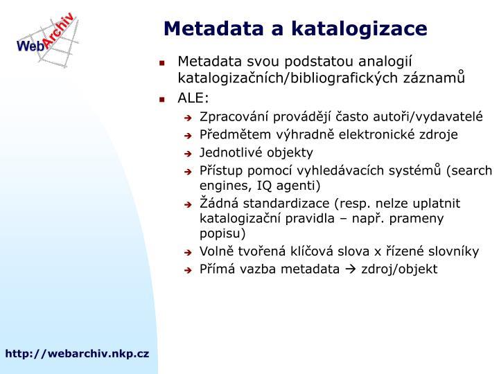 Metadata a katalogizace
