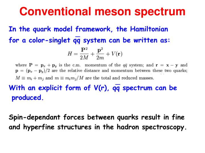 Conventional meson spectrum