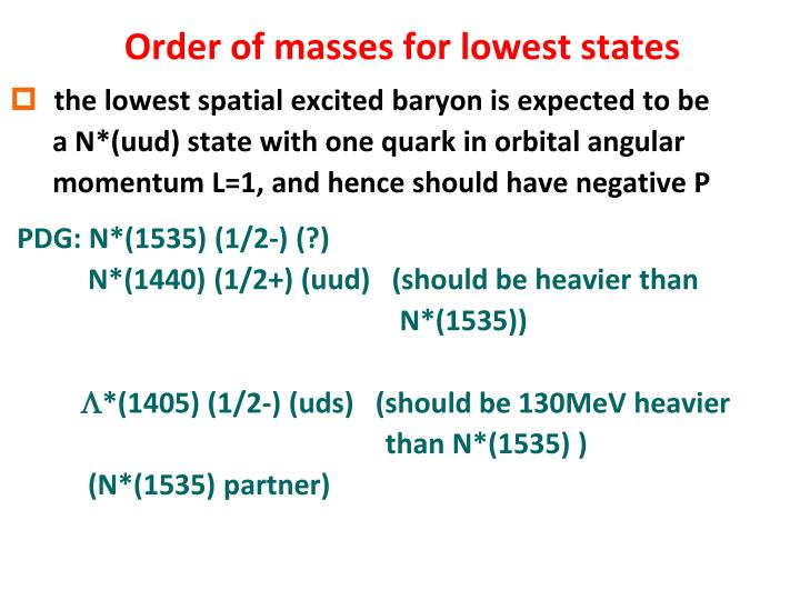 Order of masses for lowest states