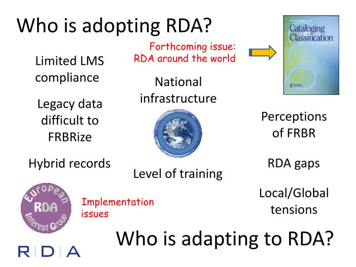 Who is adopting RDA?