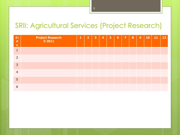 SRII: Agricultural Services (Project Research)