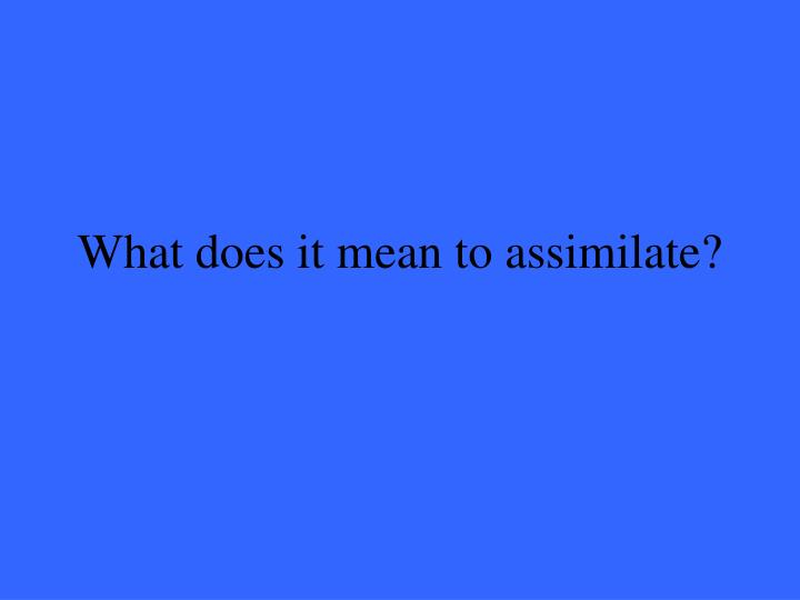 What does it mean to assimilate?