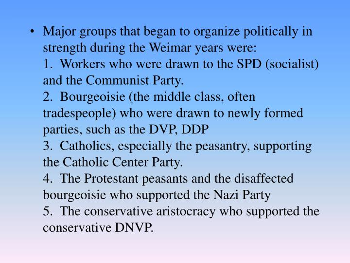 Major groups that began to organize politically in strength during the Weimar years were: