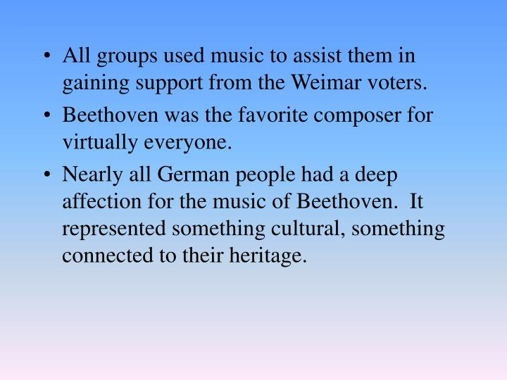 All groups used music to assist them in gaining support from the Weimar voters.