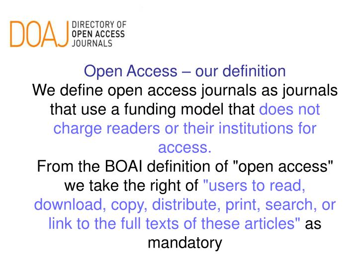 Open Access – our definition