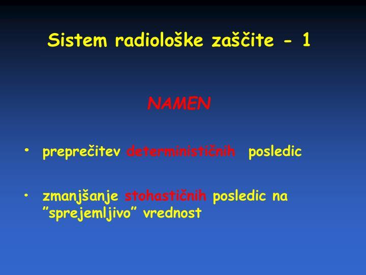 Sistem radiološke zaščite - 1