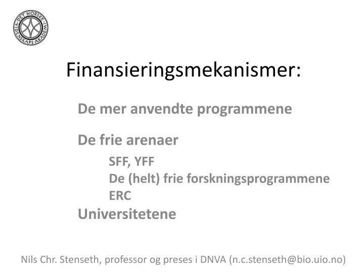 Finansieringsmekanismer: