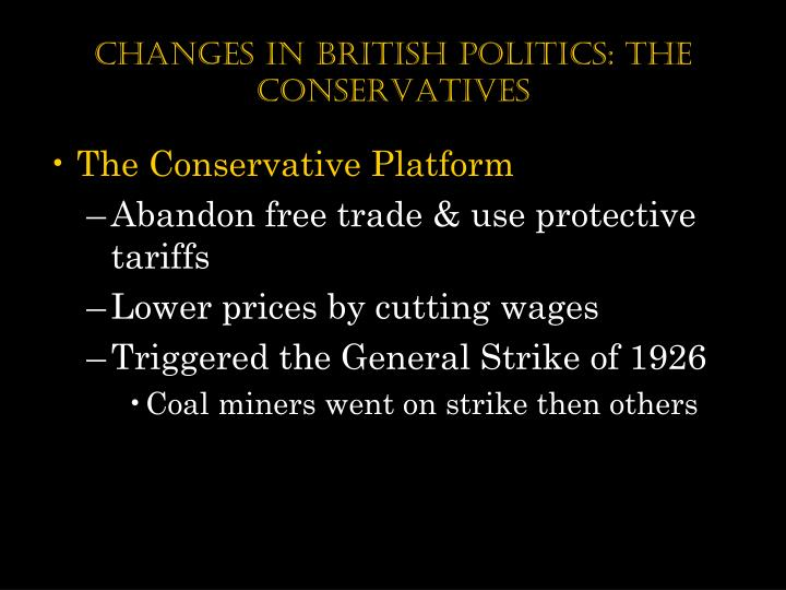 Changes in British Politics: The Conservatives