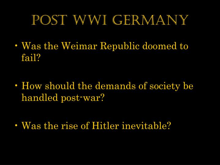 Post WWI Germany