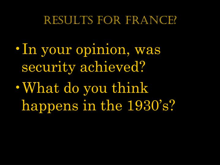Results for france?