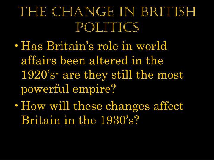 The Change in British Politics