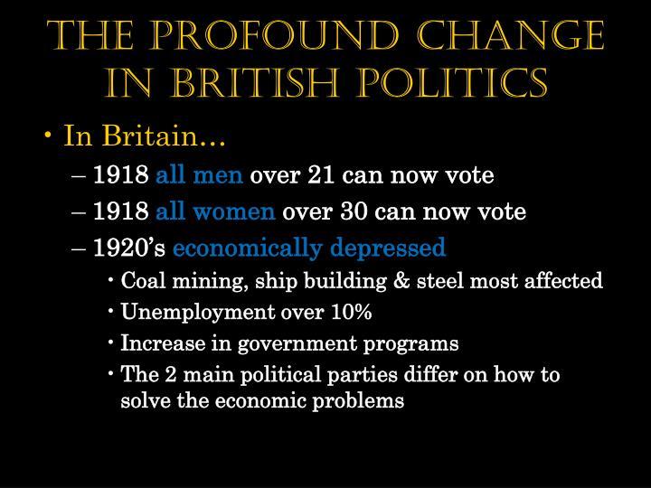 The Profound Change in British politics