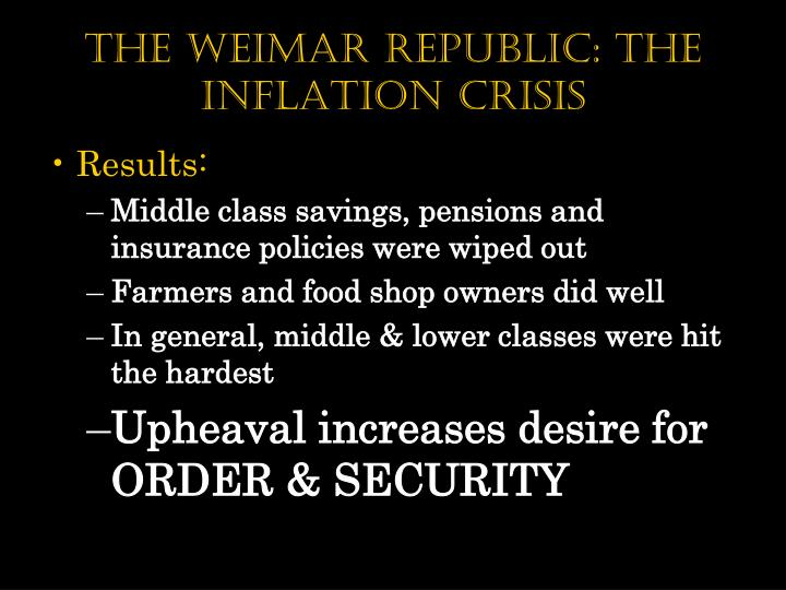 The weimar republic: The Inflation Crisis