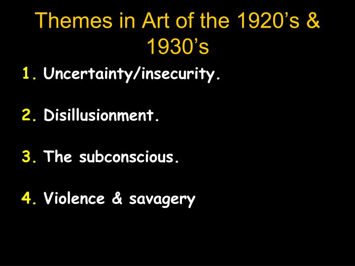 Themes in Art of the 1920's & 1930's