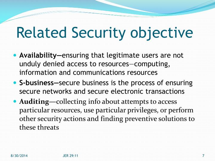 Related Security objective