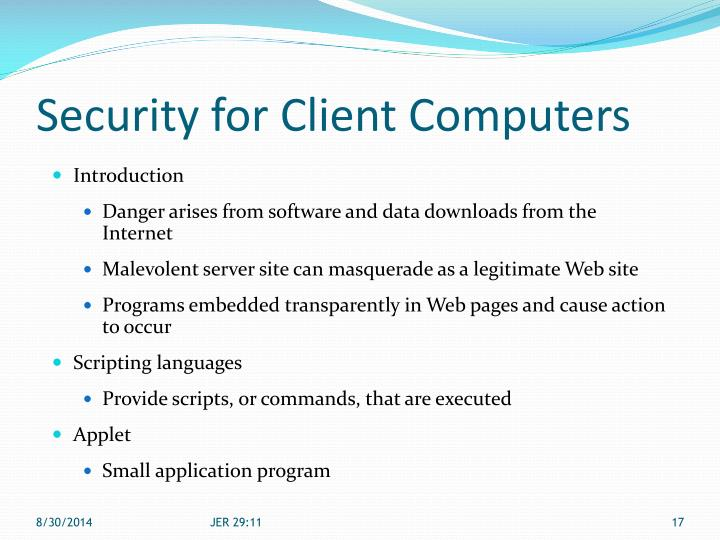 Security for Client Computers
