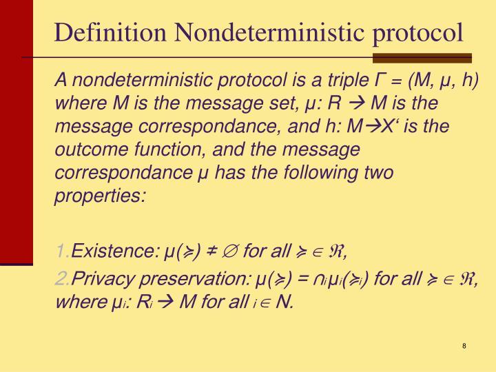 Definition Nondeterministic protocol