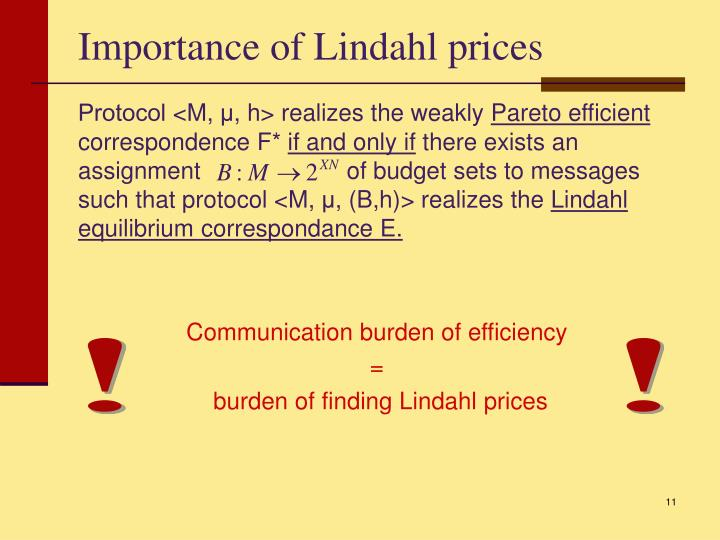 Importance of Lindahl prices
