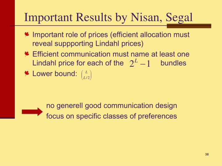 Important Results by Nisan, Segal