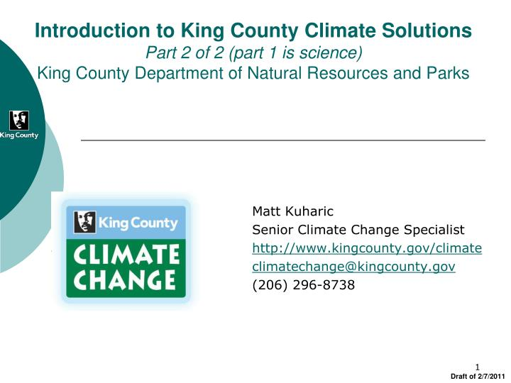 Introduction to King County Climate Solutions